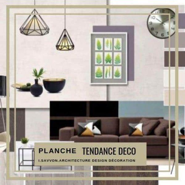 Avec la 'Planche Tendance Déco' vous avez les bases pour réussir votre projet et la decoration de votre intérieur : Plans, Couleurs, Mobilier, Matériaux, Accessoires ...